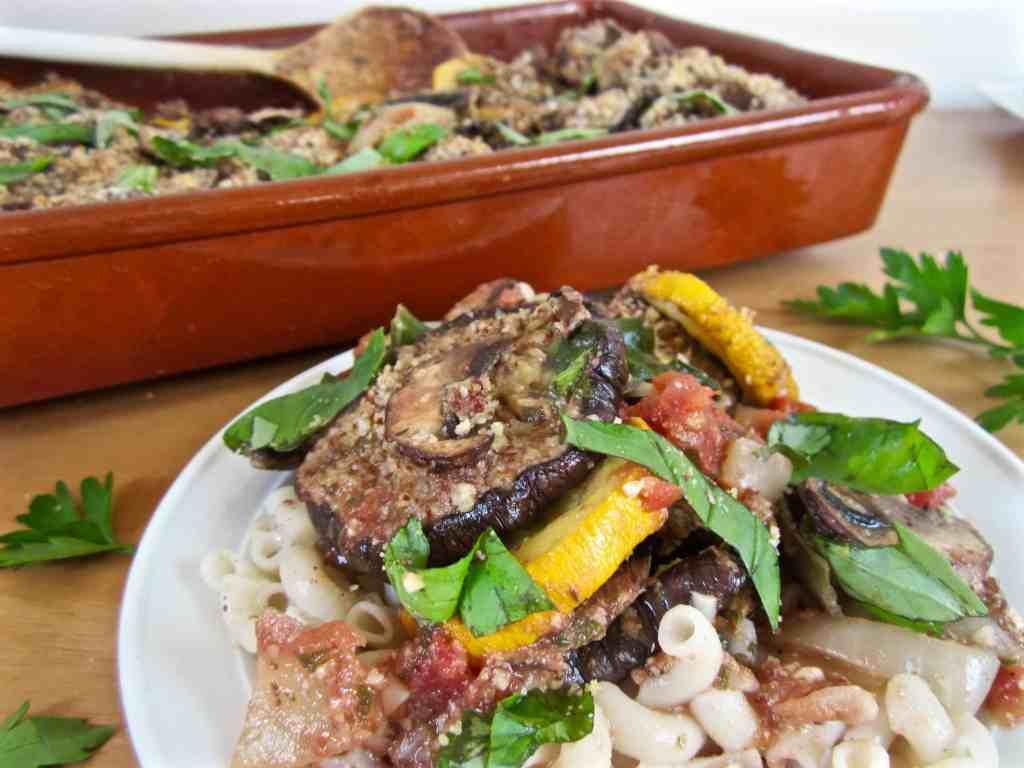 Italian Roasted Veggie Bake Recipe with Vegan Parmesan & fresh basil - vegan & gluten free deliciousness! | veganchickpea.com