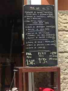 Plear Natural Menu of the Day Mallorca Spain