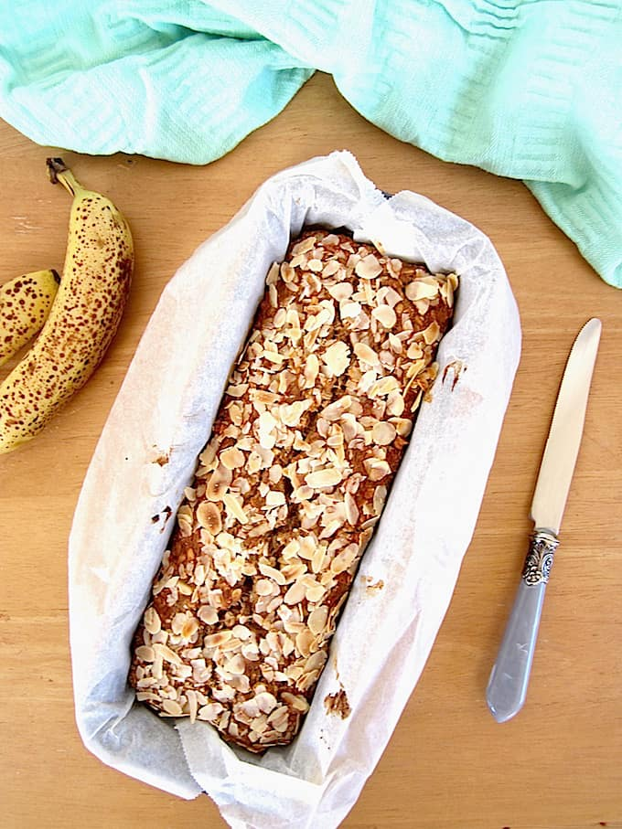 ALT TEXT: Easy & healthy vegan + gluten free one bowl Banana Nut Bread recipe! Protein packed with 7 grams per slice. {refined sugar free, oil free} | veganchickpea.com