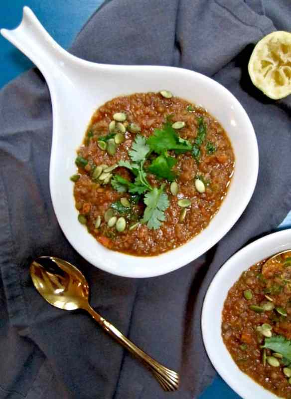 Vegan Red Lentil Stew Recipe - super healthy and 17 grams of plant powered protein per bowl!   veganchickpea.com