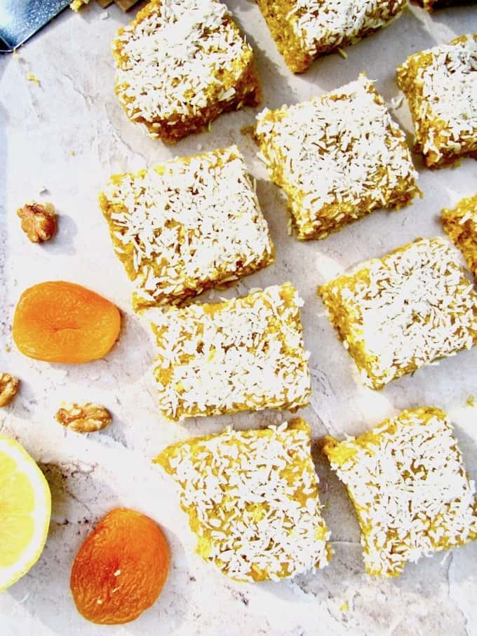 This No Bake Apricot Turmeric Lemon Energy Bars recipe has a lovely citrusy, tangy flavor and make a super healthy sugar free, vegan and gluten free snack! They are an energizing powerhouse filled with fiber, protein, antioxidants and anti-inflammatory properties. | veganchickpea.com