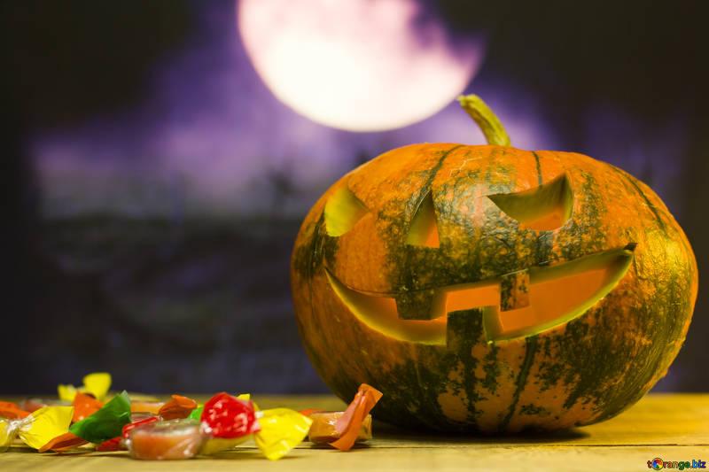 Bonbons Halloween et citrouille décorée