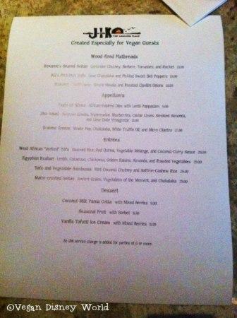 Awful photo of vegan menu