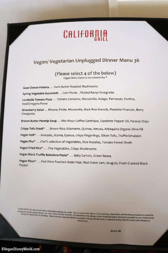 vegan menu at California Grill