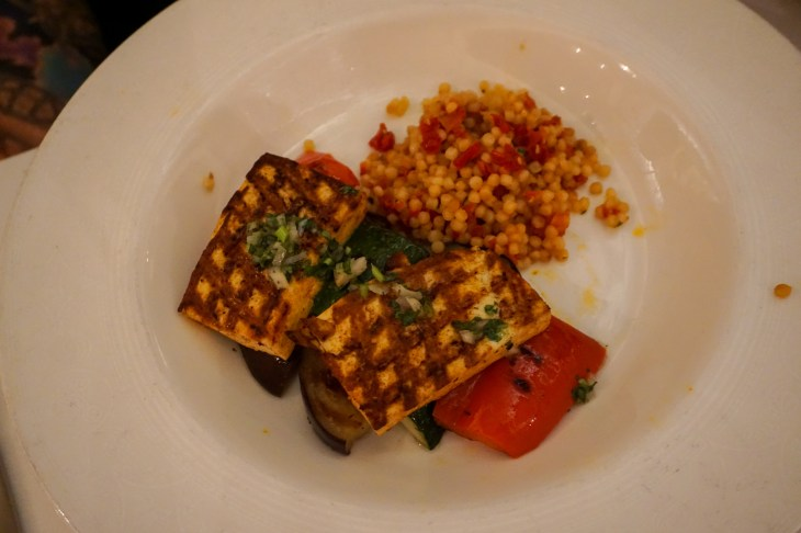 Grilled tofu, israeli couscous and vegetables