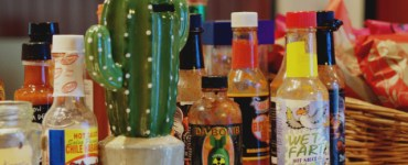 Sauce bottles at Bonnie Burrito, Edinburgh