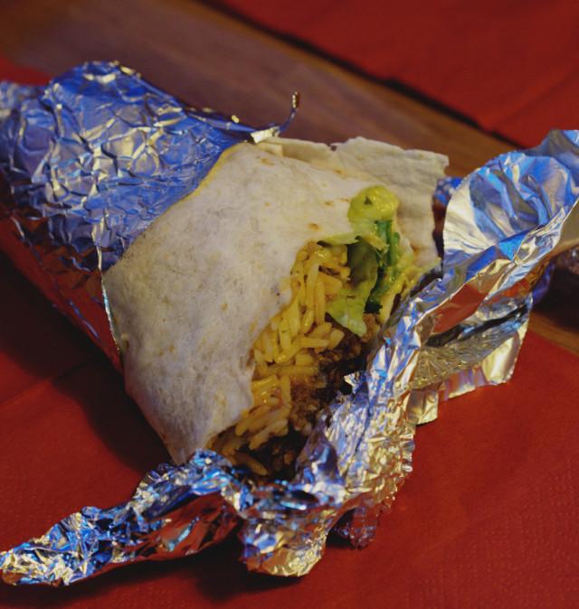 Half eaten vegan haggis burrito at Bonnie Burrito, Edinburgh