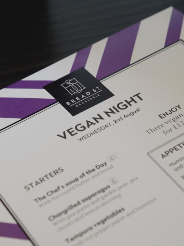 Vegan Menu at Bread Street Brasserie