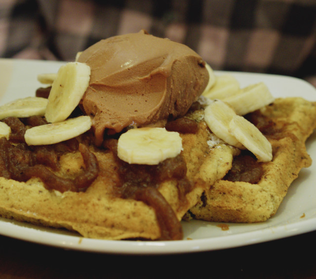 Vegan waffle with chocolate sorbet, banana and salted caramel sauce at Affogato, Edinburgh