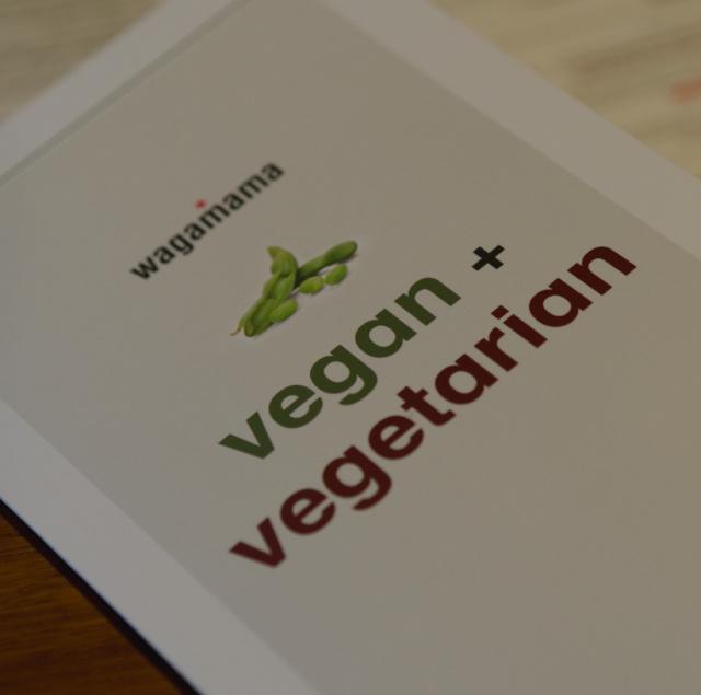Vegan menu at Wagamama, Edinburgh