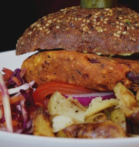Vegan sweet potato and beetroot burger, Woodland Creatures, Edinburgh