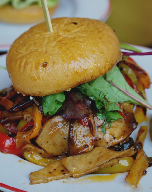 Vegan pulled mushroom burger at Bread Meats Bread