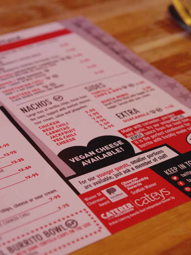 Menu at Illegal Jacks, Edinburgh