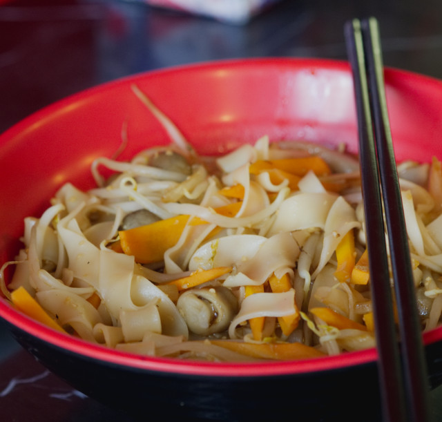 Mushroom, carrot and tofu ho fun noodles