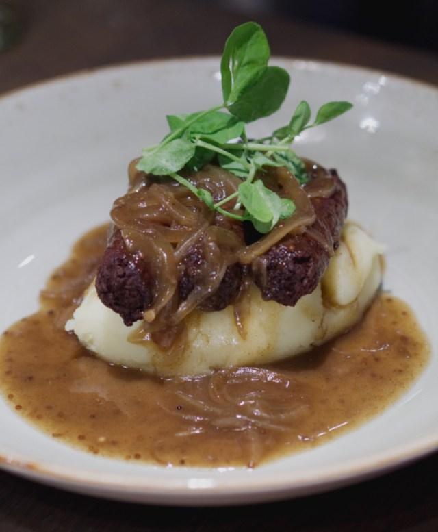 Vegan sausage and mash at Indigo Yard, Edinburgh