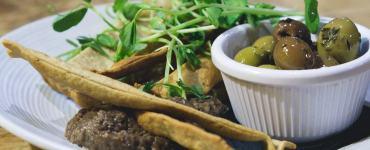 Vegan flatbreads and olive tapenade at No.1 The Grange, Edinburgh