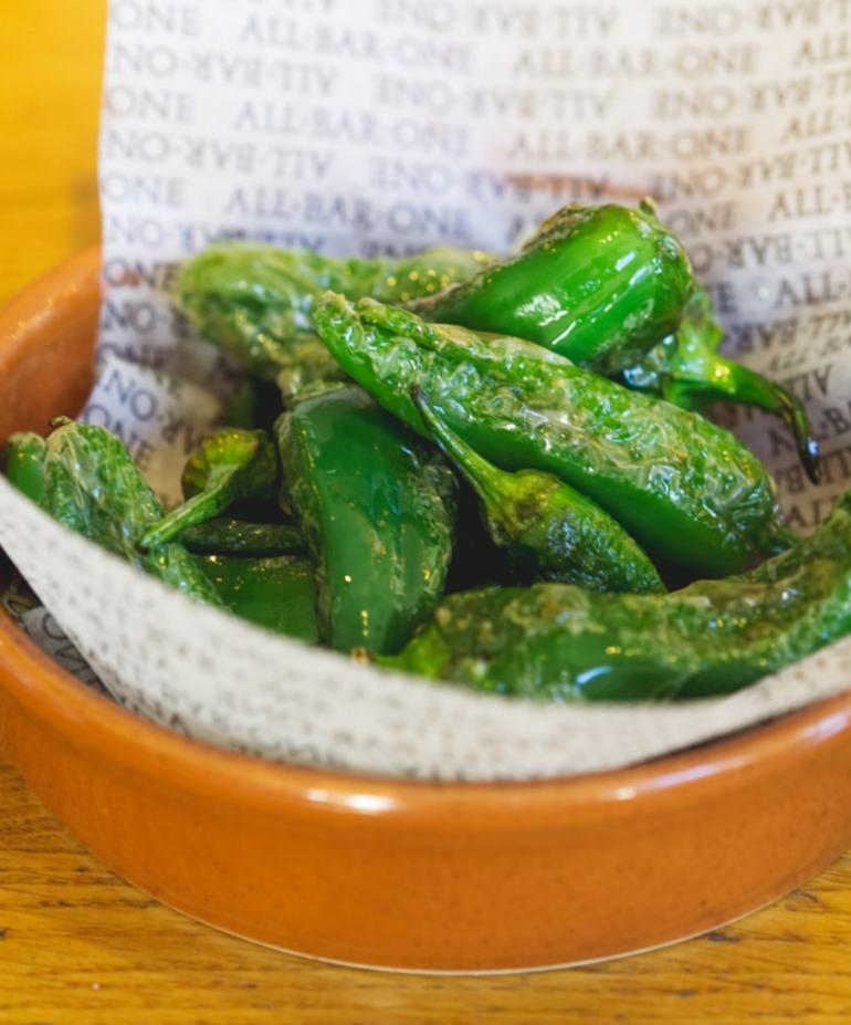 Vegan padron peppers at All Bar One Edinburgh