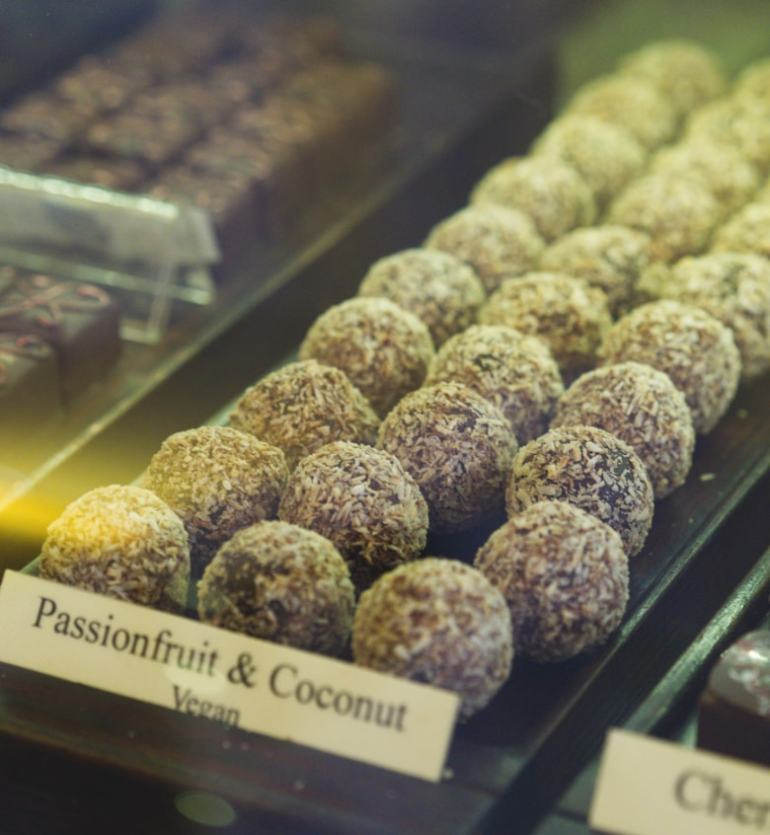 Passionfruit and coconut chocolates at the Chocolate Tree Edinburgh