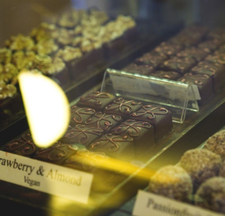 Strawberry and Almond Chocolates at The Chocolate Tree Edinburgh