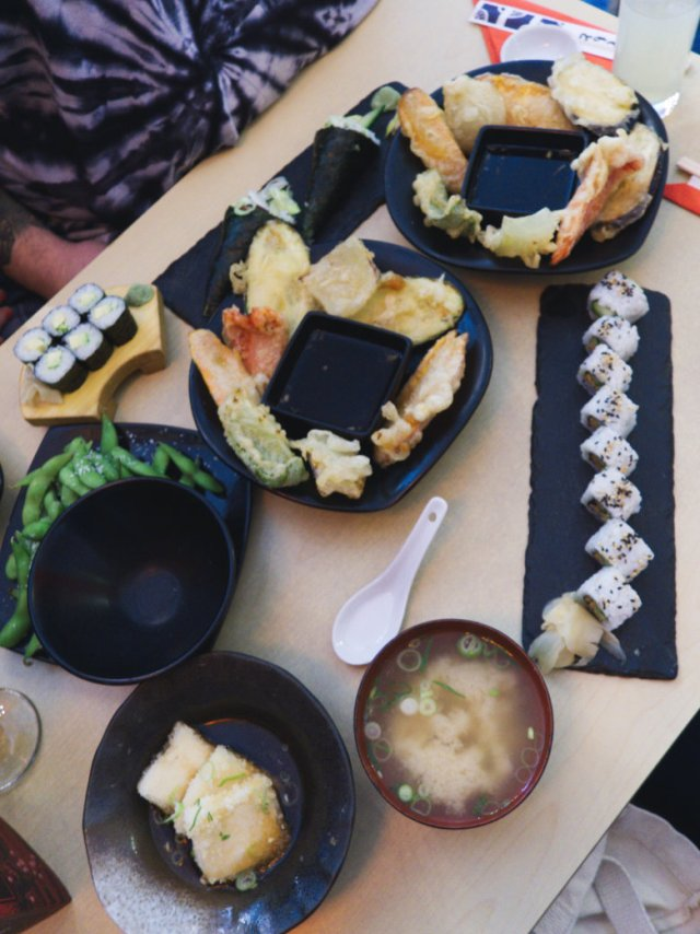 Lots of lovely vegan sushi