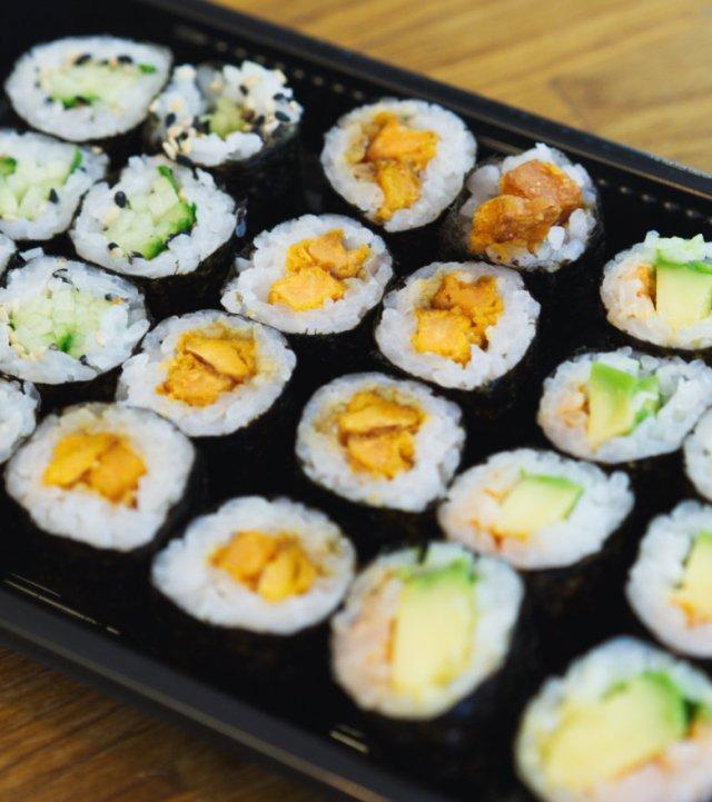 Vegan sweet potato sushi at Soul Sushi Edinburgh
