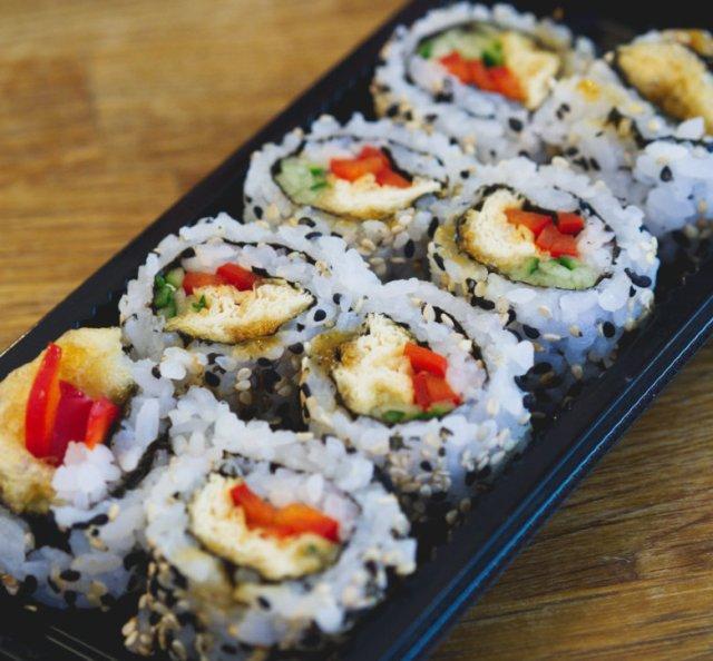 Vegan teriyaki tofu sushi at Soul Sushi Edinburgh
