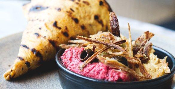 Vegan flatbread and hummus at Herringbone Goldenacre, Edinburgh