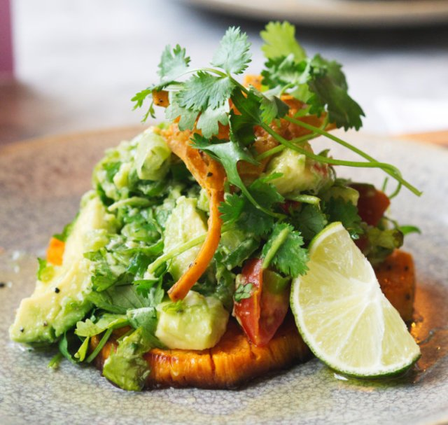 Vegan sweet potato salad at Herringbond Goldenacre, Edinburgh