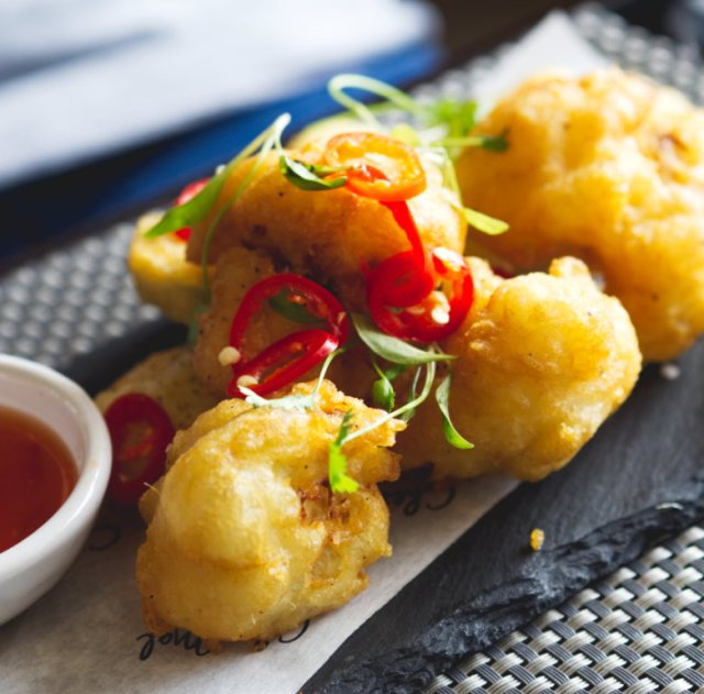 Vegan vegetable tempura at Malmaison, Edinburgh