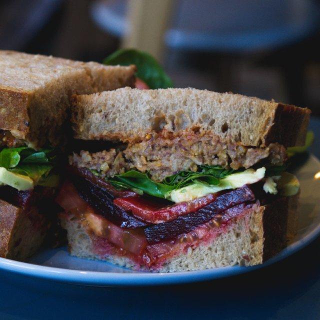 Vegan club sandwich at 305 Kitchen Edinburgh
