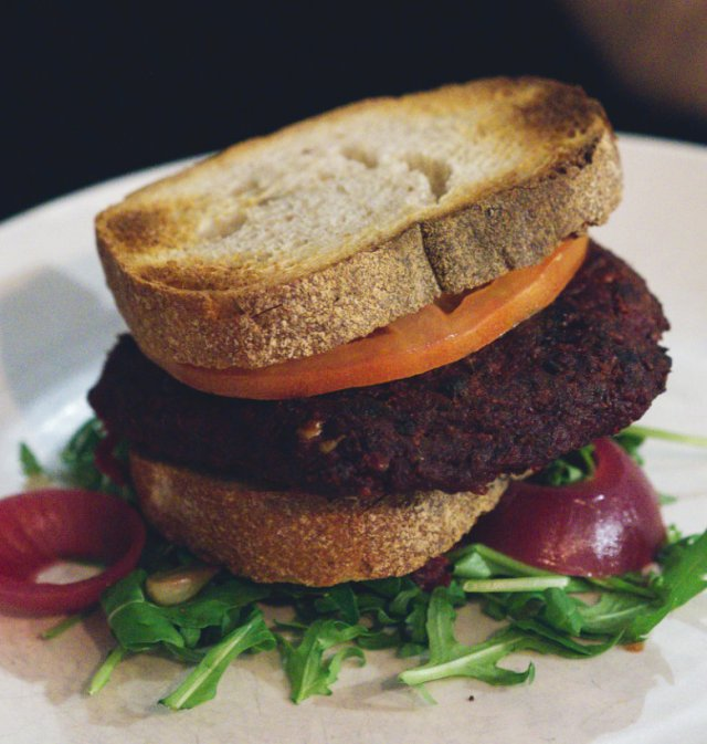 Vegan burger at Scran and Scallie, Edinburgh