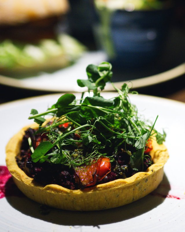 Vegan red onion tart at the Sheep Heid Inn, Edinburgh