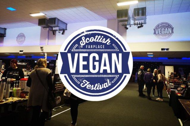 Inside Scottish Vegan Festival with logo