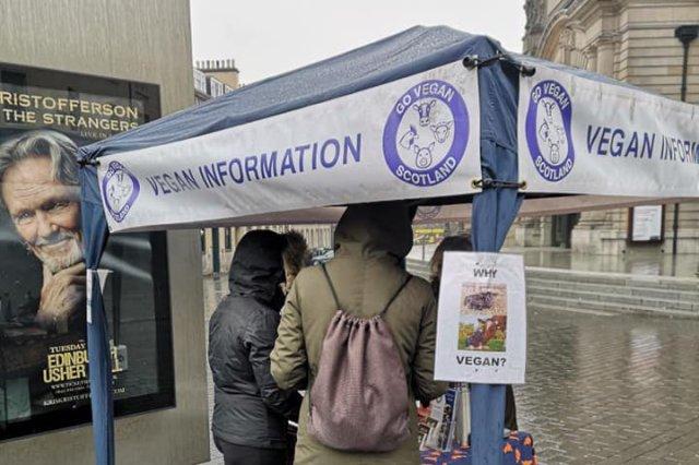 Go Vegan Scotland Information Stall at Usher Hall