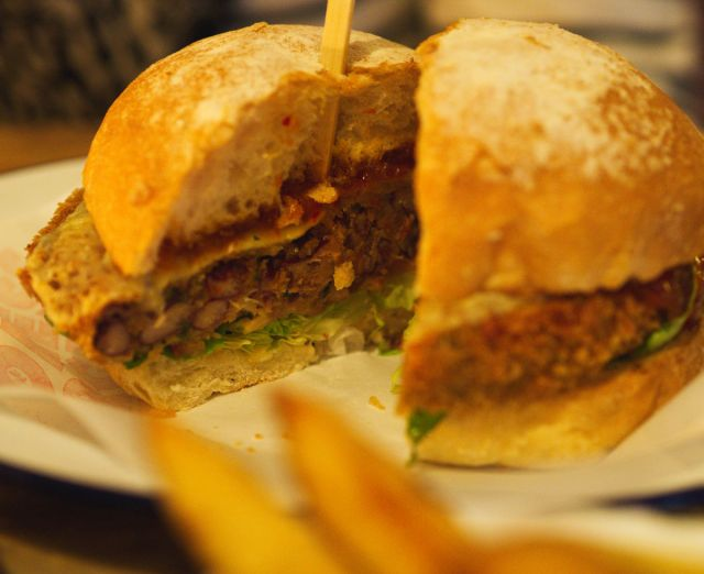 Vegan burger at Lioness of Leith, Edinburgh