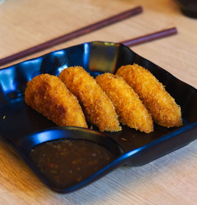 Vegan sweet potato croquettes at Maki & Ramen
