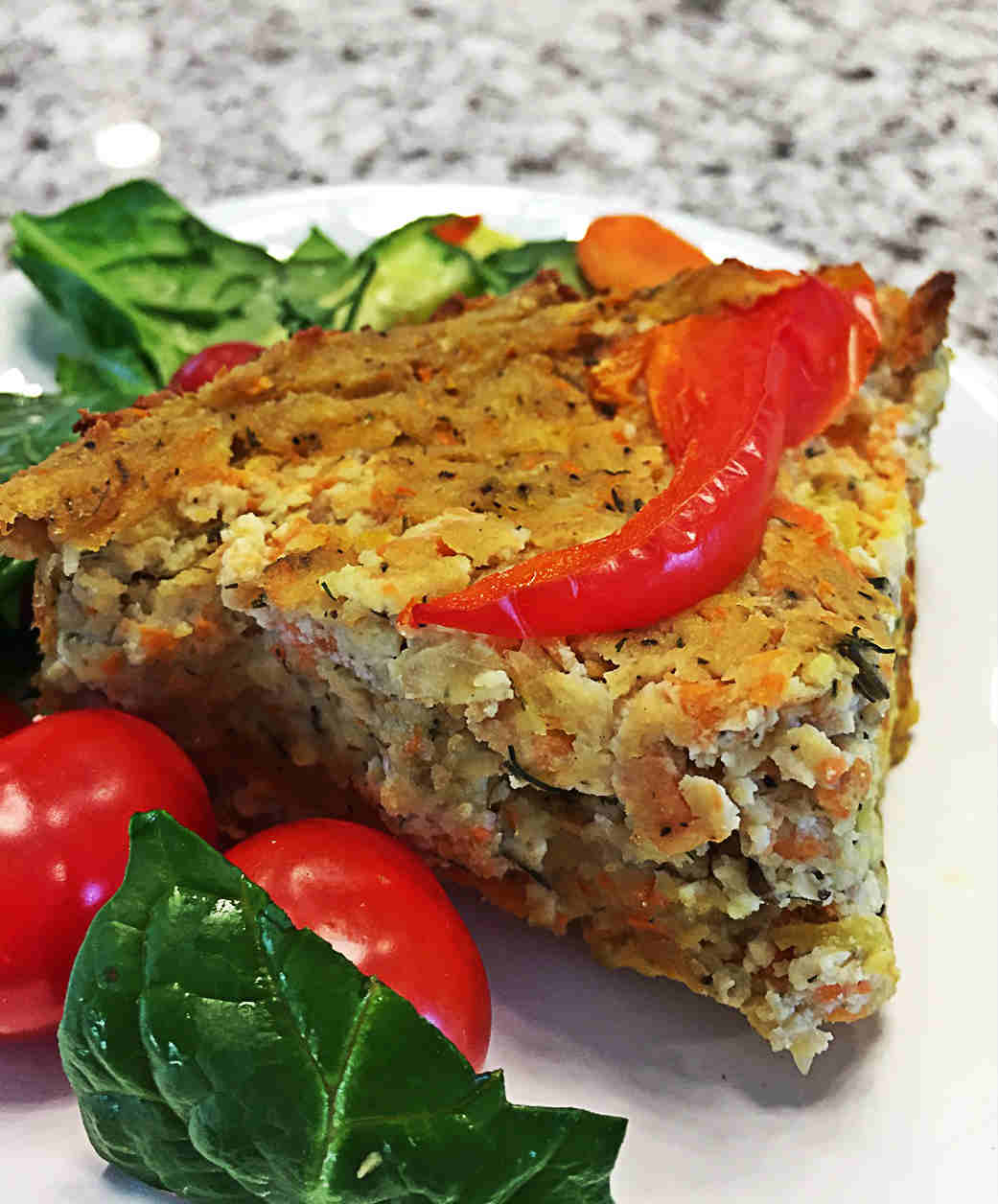 Vegan crustless quiche, with red pepper, gluten-free, oil-free, tofu, crustless, eggless, great for breakfast, brunch or dinner.