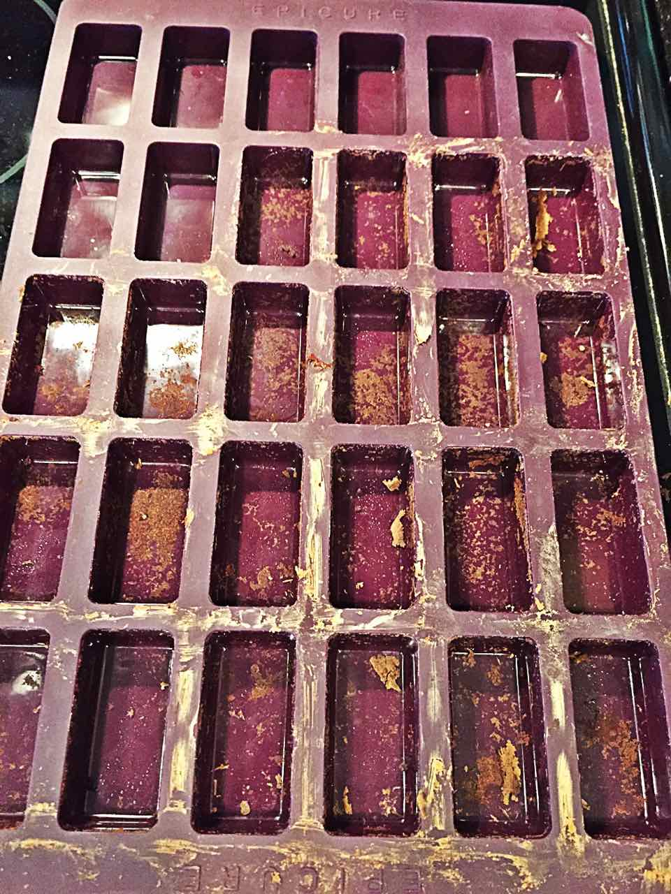 Image of Epicure Perfect Petites silicone baking trays after vegan fat-free bean brownies have been popped out.