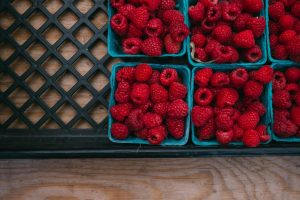 Raspberries in baskets