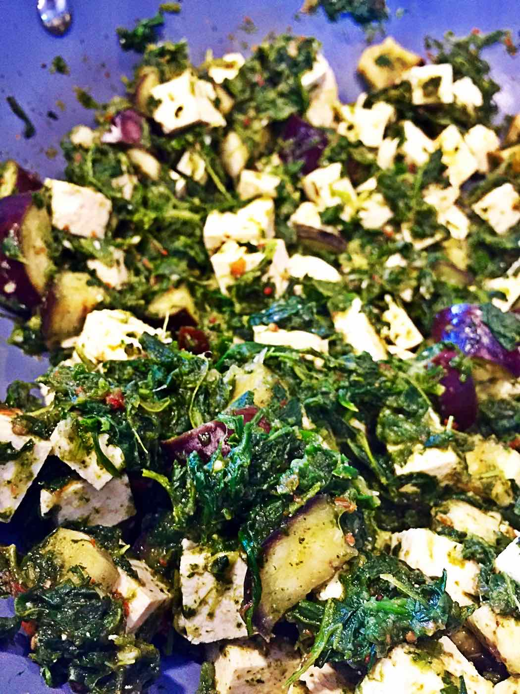 Image of Healthy Vegan Indian Palak Paneer with Spinach Eggplant and Tofu from VeganEnvy.com