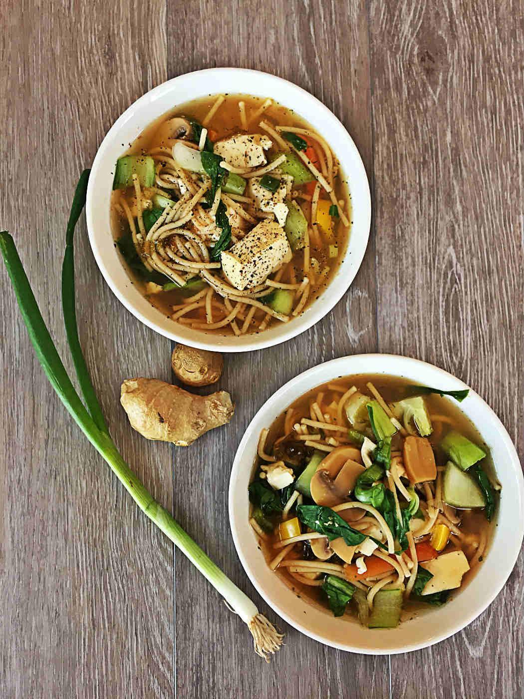 Vegan Bok Choy Tofu Noodle Soup Bowls