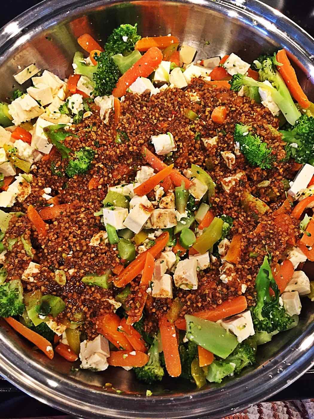 Vegan Tofu Pad Thai with Epicure seasoning sauce in wok, no oil