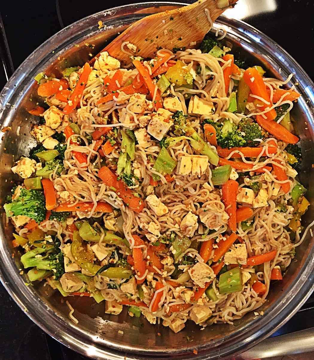 Whole foods no oil brown rice noodles Vegan Pad Thai in Wok