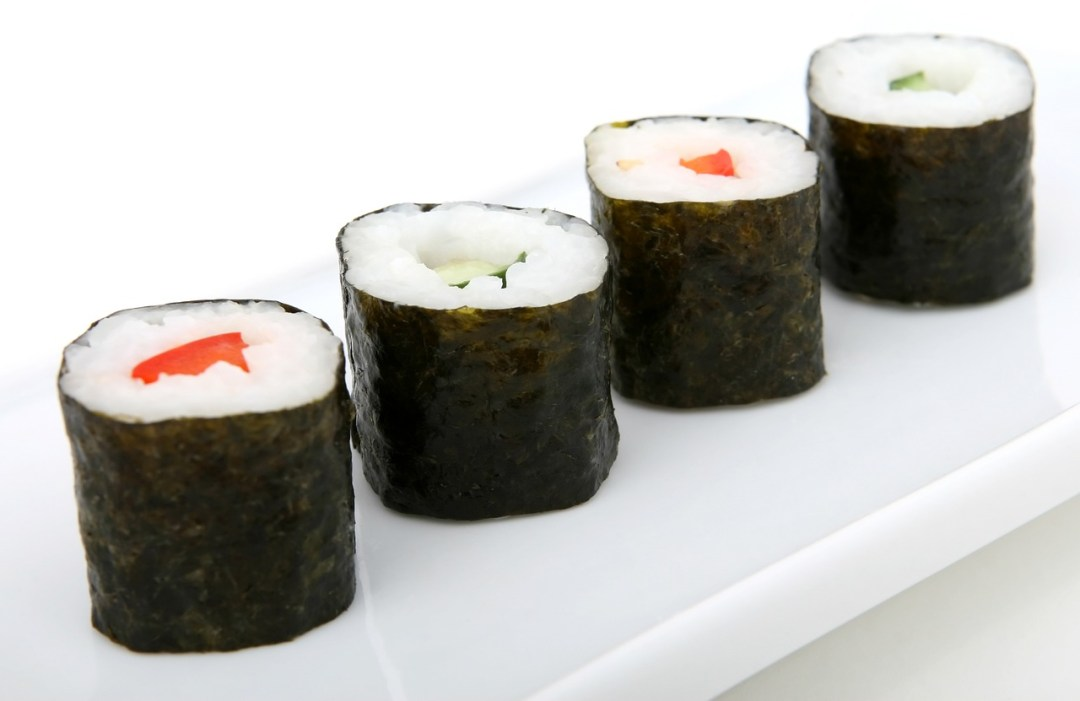Vegan sushi made with seaweed