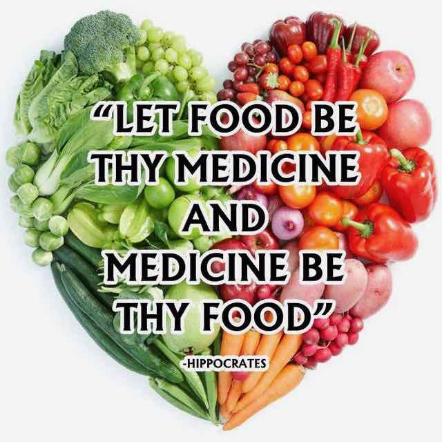 "Image of Hippocrates quote on fresh vegetables: ""Let Food Be Thy Medicine and Medicine Be Thy Food."""