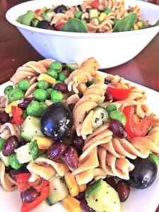 healthy vegan pasta salad black beans corn peas cucumber fat-free