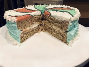 Aqua Faba Vanilla Cake, with Layers, for Vegan Birthday
