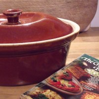 a casserole and a cookbook