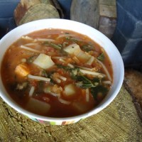 Tomato, lentil and vegetable soup