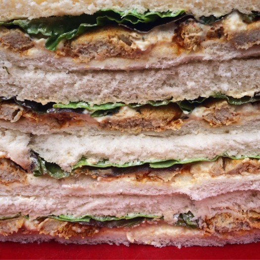 sandwiches with Squeaky Bean chicken-style pieces